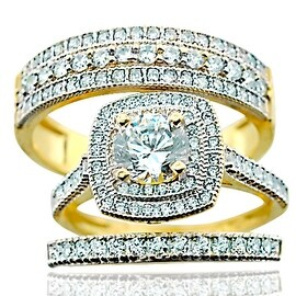 10K Yellow Gold Trio Rings Set His and Hers Halo Style 1.5ctw CZ 18mm Wide