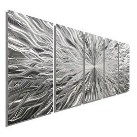 Statements2000 Silver 5 Panel Modern Metal Wall Art Sculpture by Jon Allen - Vortex 5P
