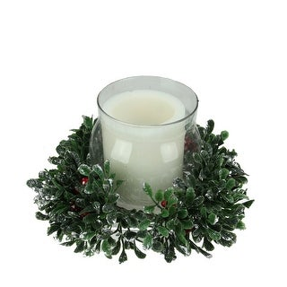 """11"""" Green and Clear Boxwood with Berry Tipped Christmas Hurricane Pillar Candleholder"""