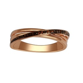 1/10cttw Cognac Diamond 10K Rose Gold Criss Cross Ring Anniversary Band 5mm Wide(I/j Color 0.1cttw)