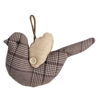 "8"" Brown and Beige Plaid Bird with Wings Christmas Ornament"