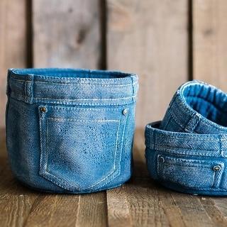 RusticReach Blue Jeans Cement Flower Pot