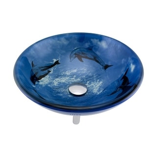 Renovators Supply Blue Tempered Glass Vessel Sink Bowl with Drain