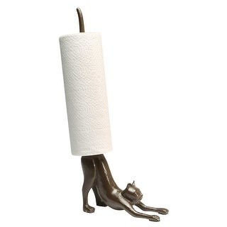 What On Earth Yoga Cat Paper Towel Holder - Cast Iron Stretching Cat Counter Top - Brown - 16 in.
