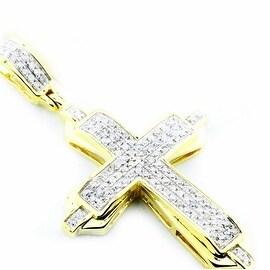 Diamond Cross Pendant 10K Gold 0.3ctTW Pave Set 35mm Tall( 0.3cttw)