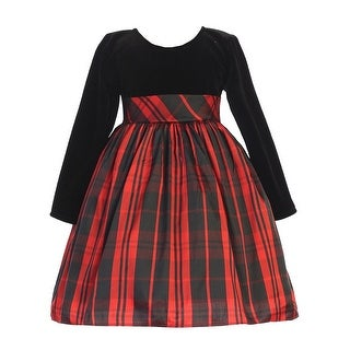 Lito Girls Black Velvet Red Plaid Long Sleeve Christmas Dress