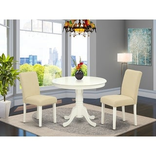 Round 36 Inch Table and Parson Chairs in Light Beige Linen Fabric (Number of Chairs Option)