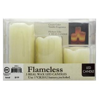 SPC Candle LED Flameless Wax 3pc Ivory