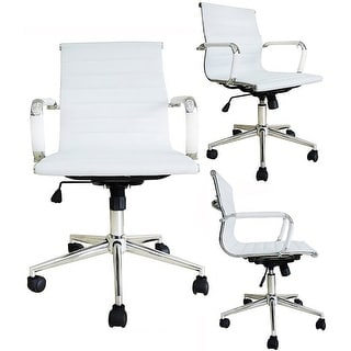 2xhome Executive Ergonomic Mid Back Office Chair Ribbed PU Leather Adjustable for Manager Conference Computer Desk White