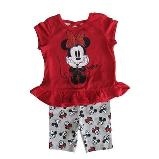 Disney Red Grey Minnie Mouse Short Sleeve Outfit Little Girls