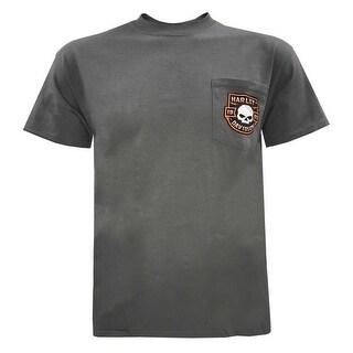 Harley-Davidson Men's Wille G Skull Chest Pocket Short Sleeve Tee, Charcoal Gray