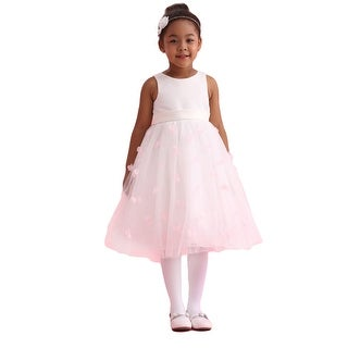 Amberry Little Girls Ivory Pink Organza 3D Flower Girl Dress