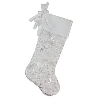 19 White and Silver Filigree Christmas Stocking with Bows