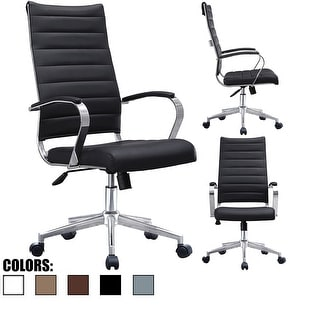 2xhome - Modern High Back Tall Ribbed Office PU Leather Swivel Tilt Adjustable Cushion Chair Designer Boss Executive