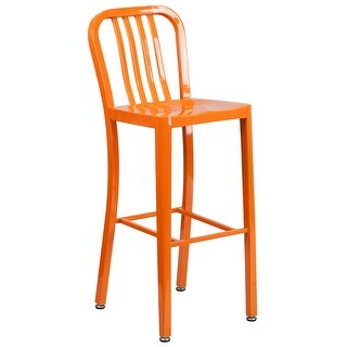 "30"" High Metal Indoor-Outdoor Barstool with Vertical Slat Back"