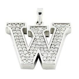 10K White Gold 2cttw Diamond Initial W Charm Mens 46mm Tall (i2/i3, I/j)