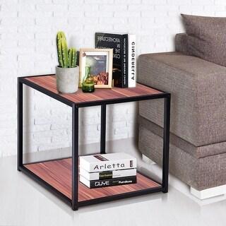 Gymax 20'' Metal Square Side/End Table Sofa Coffee Tea Stand Bottom W/2 Tier Shelf