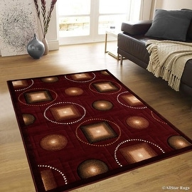 "AllStar Rugs Burgundy Abstract Modern Area Carpet Rug (7' 10"" x 10' 2"")"