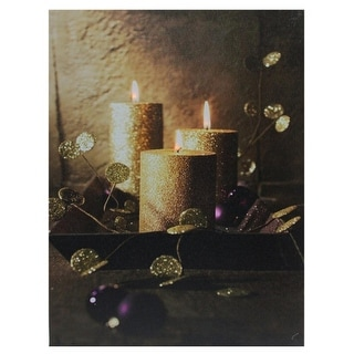 """LED Lighted Shimmering Gold Glittered Candles Christmas Canvas Wall Art 15.75"""" x 12"""""""