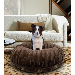 Bessie and Barnie Signature Wild Kingdom/ Godiva Brown Luxury Extra Plush Faux Fur Bagel Pet / Dog Bed
