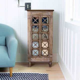 Hives & Honey Celine Ceruse Oak Jewelry Armoire with Mirror and Storage