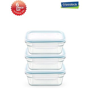 Glasslock Rectangular Food Container 6 Piece Set (1.6cups/378ml)