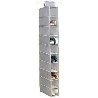 Home Basics Kensington 10-Shelf Hanging Closet Organizer, Beige, 6x12x47.25 Inches