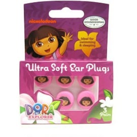 Nickelodeon Dora The Explorer Ultra Soft Ear Plugs, 3 pairs