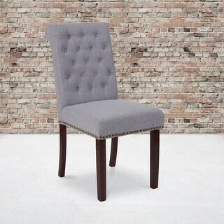 "2PK Parsons Chair-Rolled Back, Accent Nail Trim & Walnut Finish - 18.5""W x 27.5""D x 39.75""H"