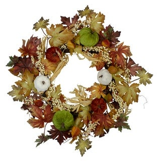 Green Pumpkins and Straw Artificial Fall Harvest Wreath - 24 inch, Unlit