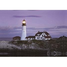 "LED Lighted Coastal Lighthouse Home with Purple Sunset Canvas Wall Art 15.75"" x 23.5"""