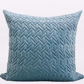 """Gentille Home Collection Luxury Sky Blue Braid Textured Quilting Pillow 24""""X24"""""""
