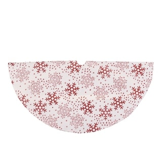 "20"" White and Red Glitter Snowflake Mini Burlap Christmas Tree Skirt"