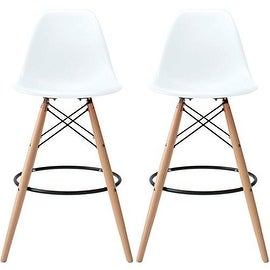 2xhome - Set of Two (2) - White - Eames Chair Style DSW Molded Plastic Bar Stool Modern Barstool Counter Stools with back