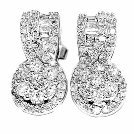 Diamond Drop Earrings 1cttw 14K White Gold Baguette And Round Diamonds