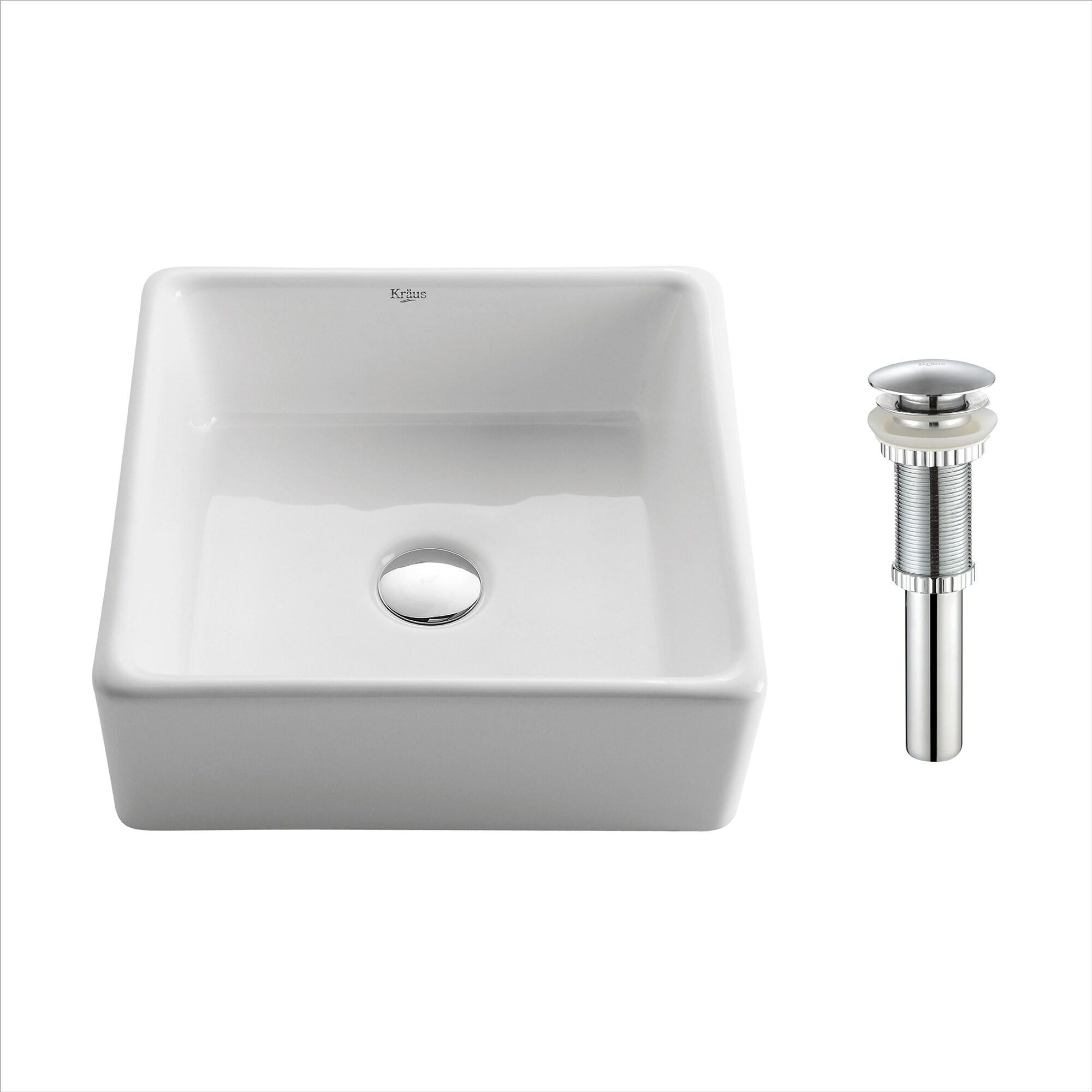 Kraus Elavo 15 inch Square Porcelain Ceramic Vessel Bathroom Sink