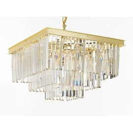 Odeon Crystal Glass Fringe Three Tier Chandelier Lighting