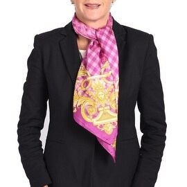Versace Printed Silk Scarf Purple Pink