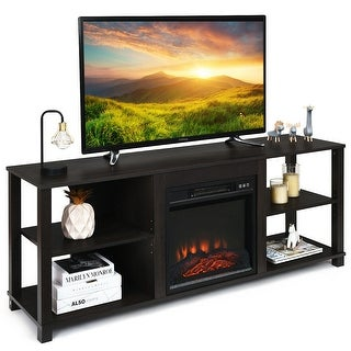 Gymax 2-Tier TV Stand &Electric Fireplace Heater Storage Cabinet