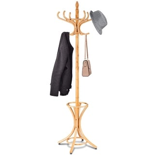 Gymax Wood Standing Hat Coat Rack Jacket Bag Hanger Tree 12 Hooks w/