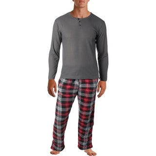 Rugged Frontier Men's Warm Fleece Plaid 2-Piece Lounge Pajama Set