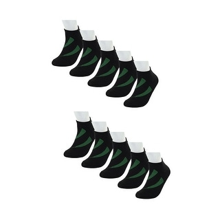 Big Boys Black Ankle Athletic Socks Low Cut Cotton Striped 10 Pairs Black-Green