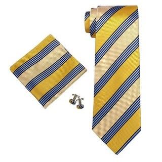 Men's Yellow And Blue Stripes Silk Neck Tie Set Cufflinks & Hanky - Regular