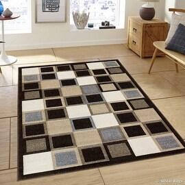 "Allstar Brown Modern Geometric square Formal design Area Rug (3' 9"" x 5' 1"")"