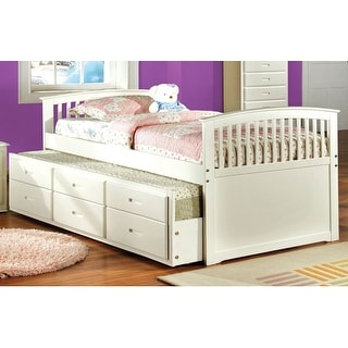 Furniture of America Dali Modern Solid Wood 2-piece Bed with Trundle Set