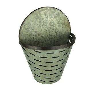 Rustic Galvanized Metal Olive Bucket Indoor/Outdoor Wall Planter - 13.75 X 10.25 X 5.5 inches