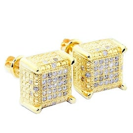 0.3cttw Diamond Earrings Cubes 10K Yellow Gold Square 9mm Wide Screw Back Mens