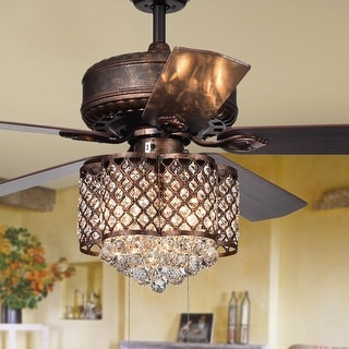 Pshita 3-light Crystal 5-blade 52-inch Rustic Bronze Ceiling Fan (Remote Optional & 2 Color Option Blades)