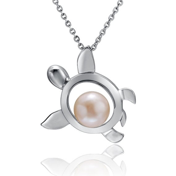 """Turtle Pearl Necklace Sterling Silver Pendant 18"""" Chain"""
