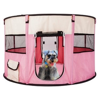 """40"""" Circular Portable Foldable 600D Oxford Cloth & Mesh Pet Playpen Fence with Eight Panels"""